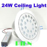 New Arrival 24W LED Recessed Ceiling Down Light Lamp Warm|Cool White 85V-265V + LED Driver Free Shipping 1pcs/lot