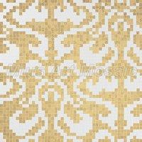 [Mius Art Mosaic] Wave gold mirror & white color art wall decoration Glass mosaic tile  puzzle KL100