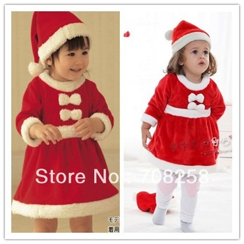 3sets- baby girls Christmas dress+hat, red color santa dress,infants wear, baby xmas warm dress+ hat as gift, free shipping,696#