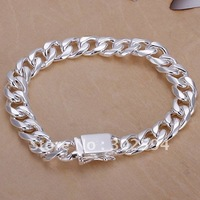MEN JEWELRY 925 silver Charm fashion Elegant  Beautiful  excellent fine 10MM MEN  chain bracelet best silver jewelry H37