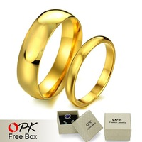 OPK JEWELRY Top Quality wedding ring stainless steel 18K gold plated Handmade Luxury couple set Jewelry 316