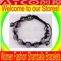 BR007 Jewelry Factory DIY Handmade Creative High Quality Lady Men's 10MM CZ Crystal Bead Shamballa Bracelet Friendship Bracelet