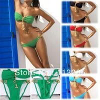 New arrival ,Sexy Womens Girl Halter Bra Metal Pendant Swimwear Strapless Padded Bikini Free Shipping