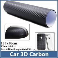 3x Carbon Fiber Stickers 127x30cm Auto Car 3D Fibre Sheet Sticker Vinyl For Equalizer/Skoda Octavia/Motorcycle/Mobile/Laptop
