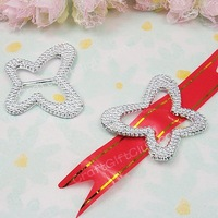100 Butterfly Acrylic Buckle Shower Ribbon Slider Craft Wedding Party Favor Fit Ribbon below 1.5cm