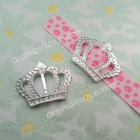 100 Crown Acrylic Buckle Shower Ribbon Slider Craft Wedding Party Favor Fit Ribbon below 1.5cm
