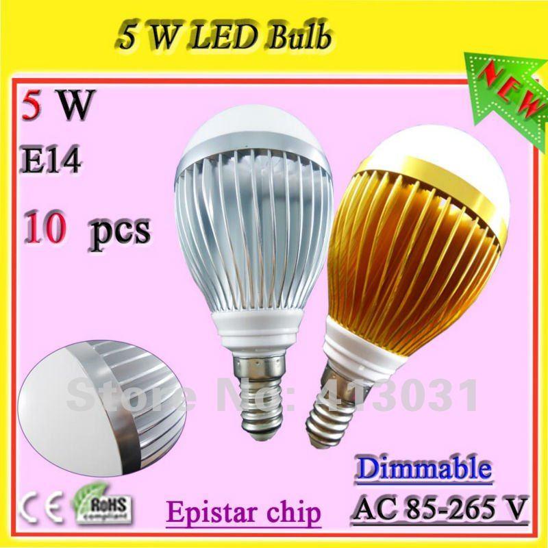 high output E14 led lamp 5w dimmable led light bulbs home lighting 500 lumens Iluminacao Led Interior warm white / pure white(China (Mainland))