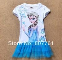 Hot !!New Details new 2014 Frozen girl dress Elsa's dresses.summer casual fashion girl dresses kids dress