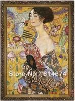 Lady with fan-Jigsaw puzzle 2000pcs size: 1000*700mm high quality Decoration-Gustav Klimt-Free Shipping
