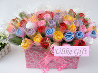 Free shipping(50pcs/lot), Pure cotton rose pattern towels, Novelty fashion Wedding Valantine gift, LG011