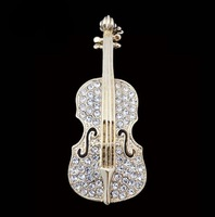 TS Rhinestone Violin Personalized Fashion Brooch Female Favorite Corsage Gift Jewelry Free Shipping(min order>$10)
