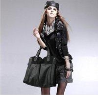 2012 Korean Style Fashion lady 2 Ways black canvas big  handbags wholesale freeshipping