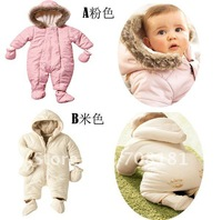 Fress shipping 5 pieces/lot winter Children's clothing baby boy girls romper 3pcs sets suit Thicken toddler hoodie jumpsuit