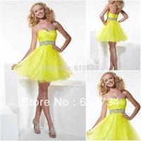 SP0019 Beautiful Beaded Homecoming Yellow Plus Size Prom Dress