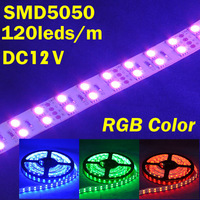NEW, DC12V,120leds/m,5m, 28.8W, non-waterproof RGB SMD 5050 led strip light, for bedroom,living room,decorative lighting, Retail