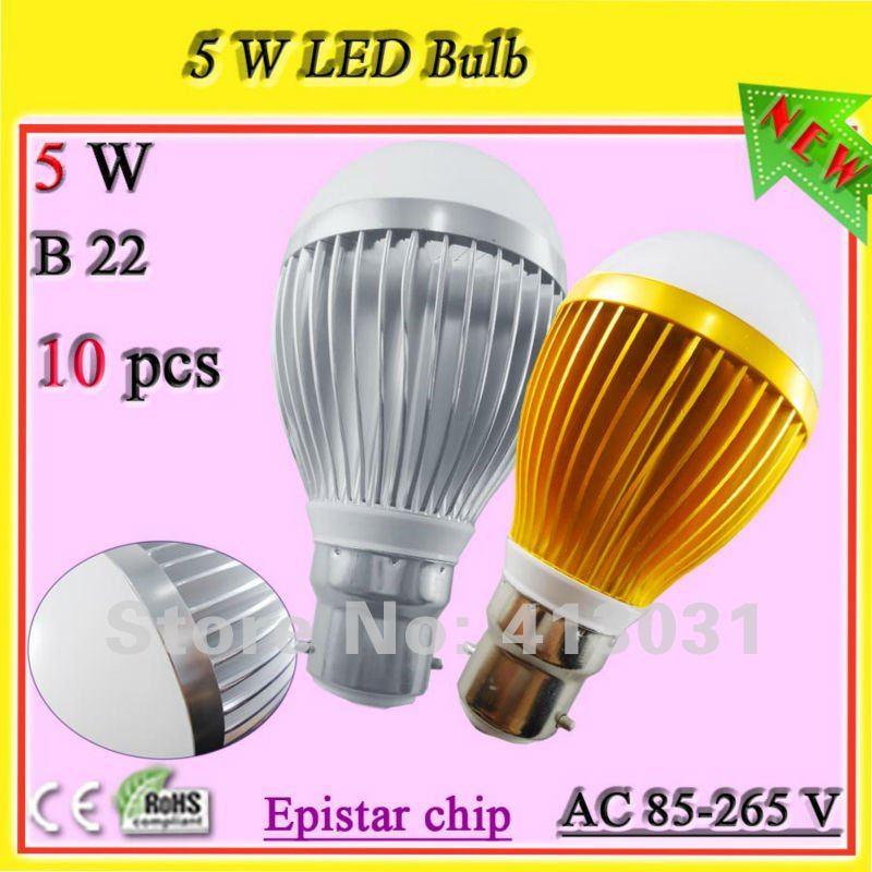 5x1w 5W led light bulb B22 bayonet_high intensity energy saving globe 500 lumens warm white / cold white Lampadario Led(China (Mainland))