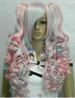Lolita Split type Pink Mix Colorful Slanting bangs Cosplay Wig 2 Ponytails