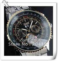 New Sport JARAGAR Mechanical Wrist Date Black & Gold Dial Automatic Mens Stainless Stee Sport watch