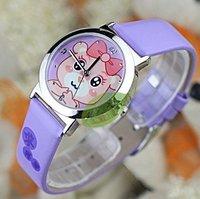 2pcs/lot Brand quartz leather Cute kids wrist watches Kezzi pig cartoon child watch Christmas gift + top quality