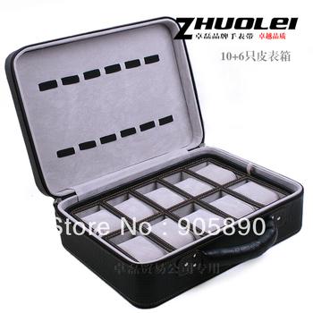 High quality watch storage box watch table box black big crocodile skin watch box 16