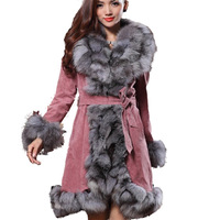 2013 New Winter fashion hot-selling female 100% real natural large fox fur collar long design genuine leather fur coat