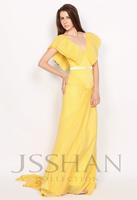 11P192 Short Sleeves V-Neck Pleats Yellow Chiffon Junoesque Elegant Gorgeous Luxury Unique Evening Dress Long Prom Dress
