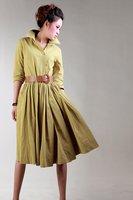 D121  2014 new high quality women's Custom made Yellow color  long sleeve linen dress