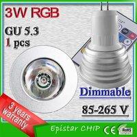 High power GU5.3 3 watt remote controled lamp rgb 16 colors changing infrared spot light ac 110v 220v 230v 240v