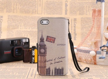 Free shipping!10pcs/lot,The word's Map Flip phone bag for iphone5 Cover Case For new iPhone 5