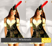 Free shipping Halloween Costume Robin Hood Sexy Medieval Maid Marian Deluxe for Women