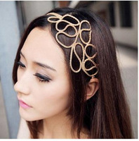 Min.order is $10(mix order) Free Shipping New Fashion Gold Hollow Out Knit Hairbands Hair Accessory