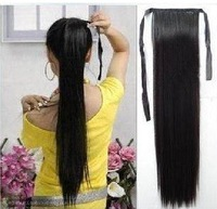 "Free shipping!Black,Dark/Light brown,22"" Long Straight Lady's Hair Extensions Ponytail/Virgin Brazilian Hair Closure"