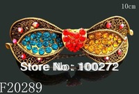 Wholesale hot sell zinc alloy rhinestone fashion bowknot hair clips hair accessories Free shipping 12pcs/lot Mixed colors F20289