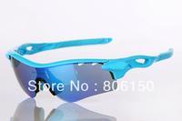 31 colour High quality Radarlock path full blue frame blue Vented lens men's Sport bike Polarized sunglasses, 5 lens radar lock