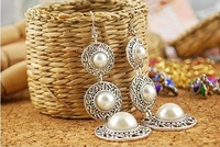 Fashion Hot Selling New Style Retro Noble WOmen 3 Circle White Simulated Pearl Earrings E19