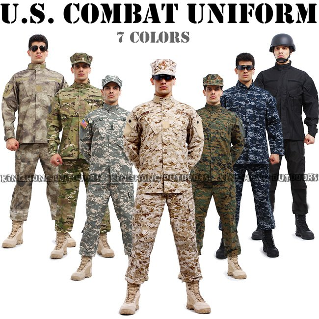 Camouflage suit sets BDU Military Combat Uniform CS Training Uniform ...