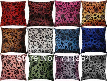 New creative FLOCKED Satin decor Cushion Cover Pillow case 9 colors, pls advise your wanted colors when you order