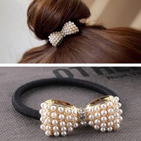 New Hair accessories Imitation Pearl Bowknot Elastic Headbands for Women H101