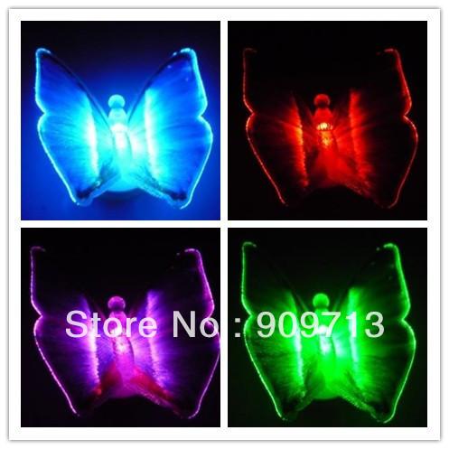 2013 New arrival! Emitting LED simulation colorful butterfly night light wedding decoration magnet stick 48pcs DHL Free ship(China (Mainland))