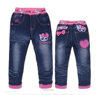 NEW children's jeans(6pcs/1lot)kids pants 100% cotton cartoon clothing girls jeans hello kitty children's clothing free shipping