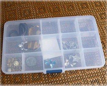 3 pcs/pack 15 case transparent jewelry box kit multi-function travel storage box (KG-08)