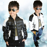 2014 Elder Boys Down Coat Children's PU Leather Winter Parkas Coats classic black and white color Free Shipping