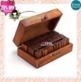 DIY AlPhaBet 70 pcs/set digital and letters seal wooden box standardized form stamp gift 3sets/lot Free shipping