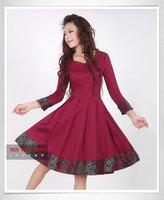 [LYNETTE'S CHINOISERIE - YHT ] Autumn Plus Size Women Clothing - Elegant Slim National Print  Women Dress Sz S M L XL XXL XXXL