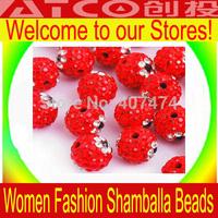Wholesale RED color Shamballa Beads 10mm Jewelry Finding Accessories Rhinestone Shambhala beads Crystal Pave  disco ball beads