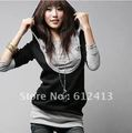 2012 Korea Women's Sweatershirts Fashion Long Sleeve Shirt Cotton Tops Hoodies Coat Outerwear Black&Gray S-005