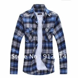 2013 flannel sanding double pocket flap plaid long-sleeved shirts men,checkered slim fit shirts for men,freeshipping , M-XXL,C05(China (Mainland))