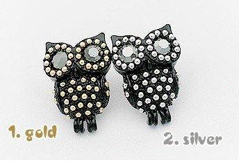 Мода Горячие Продажа Новое прибытие Cute Серебро Золото Punk Стразы Сова серьги E272