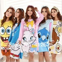 Promotion !  long sleeves Cartoon Pajamas/Nightgowns/ cotton Pajamas/women's pajamas/Lady's Sleeping DressFreeshipping