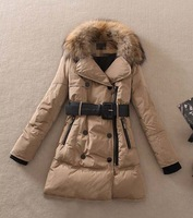 2014 new women's winter  raccoon fur collar down jacket medium-long design hooded down coat brand plus size overcoat c016